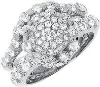 Jewelry Unlimited 14k,Gold,Round,Cluster,Diamond,Bridal,Wedding,Engagement,3,Pc,Ring,Set,2.77,Ct