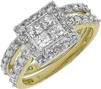 Jewelry Unlimited 10k,Gold,Princess,Round,Diamond,Engagement,Bridal,Wedding,3,Pc,Ring,Set,2,Ct