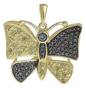 Jewelry Unlimited Yellow,Gold,Finish,Blue,Canary,Pave,Diamond,Mini,Butterfly,Pendant,Charm,0.45ct