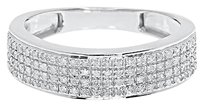 Jewelry Unlimited 10k,White,Gold,Mens,6.5mm,Pave,Diamond,Eternity,Fashion,Wedding,Band,Ring,0.40,C