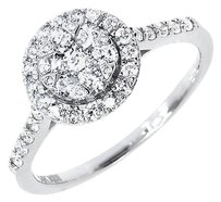 Jewelry Unlimited 14k,White,Gold,Ladies,Round,Cluster,Diamond,Halo,Engagement,Wedding,Ring,0.76,Ct