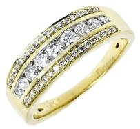 Jewelry Unlimited 14k,Yellow,Gold,Ladies,Three,Row,Round,Diamond,6mm,Wedding,Band,Ring,0.51ct