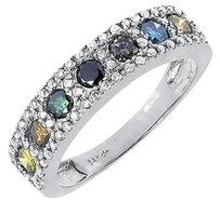 Jewelry Unlimited 14k,White,Gold,Ladies,Multi,Color,Fancy,Diamond,5mm,Fashion,Band,Ring,0.90,Ct