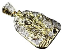 Jewelry Unlimited Yellow,Gold,Finish,Round,Diamond,Egyptian,Pharaoh,King,Tut,1.25,Pendant,0.25,Ct