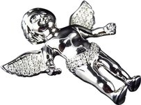 Jewelry Unlimited Solid,10k,White,Gold,3d,Angel,Cherub,Genuine,Diamond,Charm,Pendant,1.5,0.58,Ct