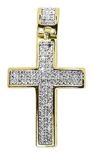 Jewelry Unlimited Yellow,Gold,Finish,Men,Ladies,Round,Pave,Diamond,1.3,Cross,Pendant,Charm,.75,Ct