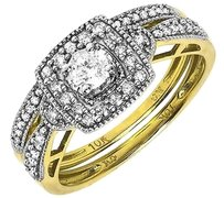 Jewelry Unlimited 10k,Yellow,Gold,Ladies,Round,Solitaire,Diamond,Bridal,Wedding,Ring,Set,0.47,Ct