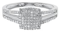Jewelry Unlimited 10k,White,Gold,Ladies,Round,Diamond,Split,Shank,Engagement,Wedding,Ring,0.25,Ct