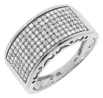 Jewelry Unlimited 10k,White,Gold,Mens,Round,Pave,Diamond,11mm,Wedding,Fashion,Band,Ring,1.25,Ct