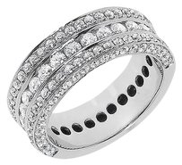Jewelry Unlimited 14k,White,Gold,Mens,Ladies,Round,Diamond,Channel,Wedding,Fashion,Band,Ring,2,Ct