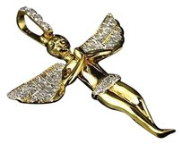 Jewelry Unlimited 10k,Yellow,Gold,Genuine,Diamond,3d,Micro,Mini,Angel,Cherub,Pendant,.75,Ct,1.7