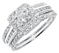 Jewelry Unlimited 14k,White,Gold,Ladies,Princess,Solitaire,Diamond,Bridal,Engagement,Ring,Set,1,Ct