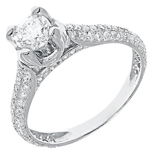 Jewelry Unlimited 14k,White,Gold,Round,Diamond,Solitaire,Pave,Engagement,Wedding,Ring,1.33,Ct