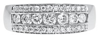 Jewelry Unlimited 14k,White,Gold,Mens,Three,Row,Round,Channel,Diamond,8mm,Wedding,Band,Ring,1.20ct