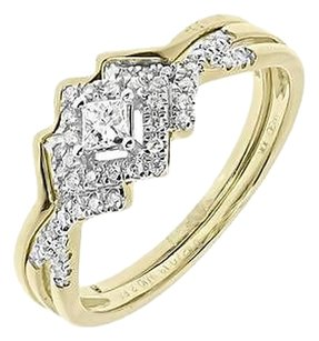 Jewelry Unlimited 10k,Yellow,Gold,Ladies,Princess,Diamond,Solitaire,Wedding,Bridal,Ring,Set,0.25ct