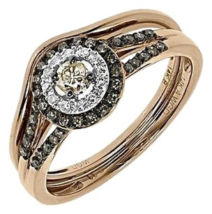 Jewelry Unlimited 14k,Rose,Gold,Round,Brown,Diamond,Solitaire,Engagement,Bridal,Ring,Set,.33,Ct