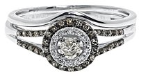 Jewelry Unlimited 14k,White,Gold,Round,Brown,Diamond,Solitaire,Engagement,Bridal,Ring,Set,.33,Ct