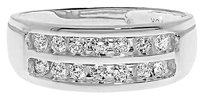 Jewelry Unlimited 10k,White,Gold,Mens,2,Row,Round,Diamond,8mm,Wedding,Fashion,Band,Ring,12,Ct