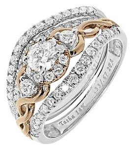 Jewelry Unlimited 14k,Gold,Two,Tone,Three,Stone,Round,Diamond,Bridal,Engagement,Ring,Set,1.01,Ct
