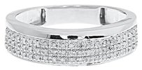 Jewelry Unlimited 10k,White,Gold,Mens,7.5mm,Pave,Round,Diamond,Wedding,Fashion,Band,Ring,0.20,Ct