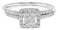 Jewelry Unlimited 14k,White,Gold,Ladies,Princess,Round,Diamond,Engagement,Bridal,Ring,Set,0.51,Ct