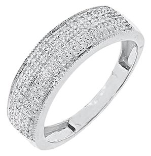 Jewelry Unlimited 10k,White,Gold,Mens,Pave,Round,Genuine,Diamond,6.5mm,Milgrain,Band,Ring,0.40ct