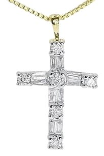 Jewelry Unlimited 14k,Yellow,Gold,Ladies,Round,Baguette,Diamond,Mini,1,Cross,Pendant,Charm,12,Ct