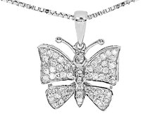 Jewelry Unlimited 10k,White,Gold,Ladies,Round,Pave,Diamond,Butterfly,Mini,Pendant,Charm,0.35,Ct