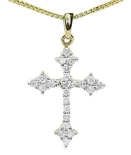 Jewelry Unlimited 14k,Yellow,Gold,Ladies,Round,Diamond,Mini,Gothic,Cross,Pendant,Charm,0.26,Ct