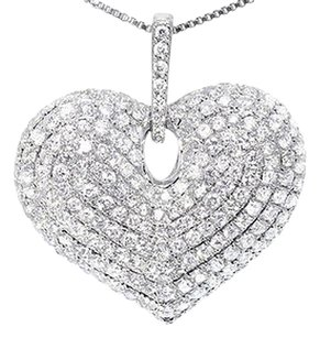 Jewelry Unlimited 5.0,Ct,Ladies,10k,White,Gold,Round,Diamond,Puffed,Heart,Fashion,Love,Pendant,Cha
