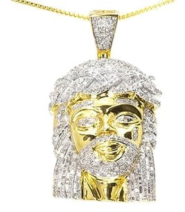 Jewelry Unlimited Yellow,Gold,Finish,Mens,Genuine,Diamond,Mini,Jesus,1.5,Charm,Pendant,1.0,Ct