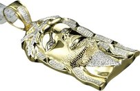 Jewelry Unlimited ,Mens,Yellow,Gold,Finish,Genuine,Diamond,Jesus,Face,Piece,Pendant,Charm,.75ct