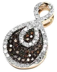 Jewelry Unlimited Ladies,Teardrop,Swirl,Pendant,With,Red,And,White,Diamond,In,10k,Rose,Gold