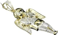 Jewelry Unlimited Mens,Ladies,Yellow,Gold,Mini,Angel,Cherub,Jesus,2.1,Inch,Diamond,Pendant,.75,Ct