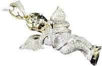 Jewelry Unlimited Full,Mens,Ladies,Yellow,Gold,Mini,Angel,Cherub,Jesus,2,Inch,Diamond,Pendant,1,Ct