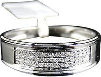 Jewelry Unlimited Mens,10k,White,Gold,Diamond,Pave,6,Mm,Wedding,Engagement,Band,Ring,.25ct
