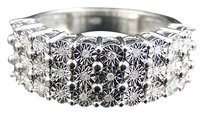 Jewelry Unlimited Mens,White,Gold,Finish,3,Row,Diamond,9,Mm,Fashion,Designer,Band,Ring,.15ct
