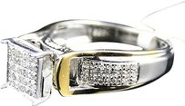 Jewelry Unlimited Ladies,Two,Tone,Sterling,Silver,Round,Cut,Pave,Set,Diamond,Fashion,Engagement