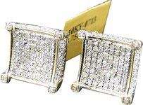 Jewelry Unlimited Mens,Ladies,10k,Yellow,Gold,12,Mm,Diamond,Pave,3d,Cube,Prong,Stud,Earrings,1,Ct