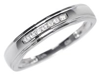 Jewelry Unlimited 10k,White,Gold,Mens,Round,Diamond,4mm,Wedding,Engagement,Band,Ring,115ct