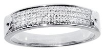 Jewelry Unlimited 10k,White,Gold,Mens,Three,Row,Pave,Round,Genuine,Diamond,5mm,Band,Ring,18ct
