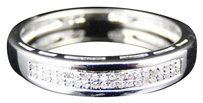 Jewelry Unlimited Ladies,White,Gold,Finish,2,Row,Round,Diamond,Wedding,Engagement,Band,Ring