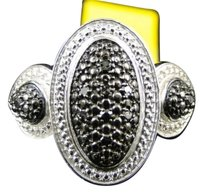 Jewelry Unlimited Womens,White,Gold,Finish,Round,Cut,Black,Diamond,Pave,Designer,Pinky,Band,Ring