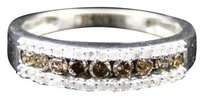Jewelry Unlimited Ladies,White,Gold,Finish,Brown,Cognac,White,Diamond,Fashion,Engagement,Band,Ring