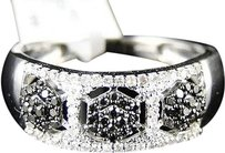 Jewelry Unlimited Womens,White,Gold,Black,Diamond,Wedding,7,Mm,Pave,Round,Band,Designer,Ring,13,C