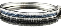 Jewelry Unlimited 14k,Ladies,White,Gold,Blue,And,White,Prong,Diamond,Bangle,Bracelet,1.42,Ct