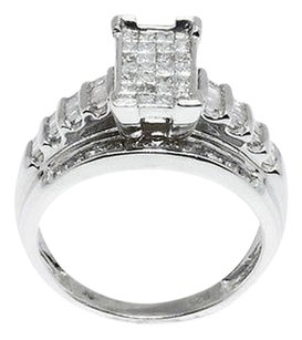 Jewelry Unlimited Princess,Cut,Round,Baguette,Diamond,Engagement,Bridal,Wedding,Ring,In,White