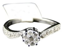 Jewelry Unlimited Ladies,10k,White,Gold,Round,Diamond,Cluster,Engagement,Wedding,Band,Ring,14,Ct