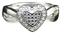 Jewelry Unlimited Ladies,White,Gold,Finish,Pave,Heart,Diamond,Engagement,Fashion,Ring,0.05,Ct