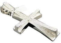 Jewelry Unlimited Mens,White,Gold,Hand,Set,Pave,Round,Cut,Diamond,Cross,Pendant,3.25,Inch